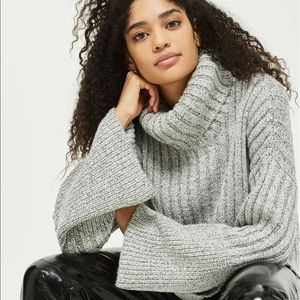 Topshop Flare Cuff Turtleneck Sweater